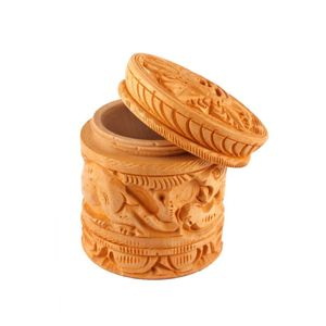 Brown Wooden Carving Container Box