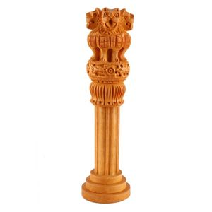 Brown  Wood Ashok Pillar Showpiece