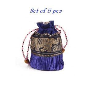 Blue Desginer Silk Potli -5pcs Assorted Color
