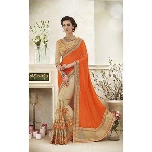 Glamor Orange & Beige Georgette Saree