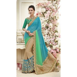 Aqua Sea Green & Beige Georgette Saree