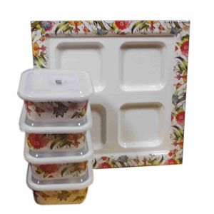Designer Printed Tray with 4 Airtight Container (Bowl)