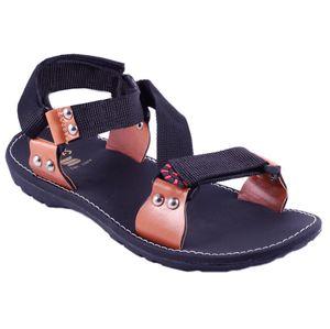 Black Stylos Cross Sandals for Men