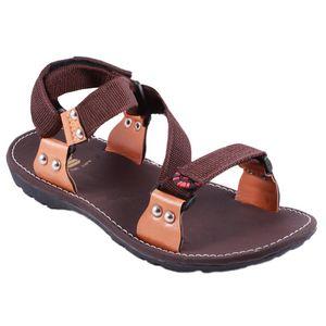 Brown Stylos Cross Sandals for Men