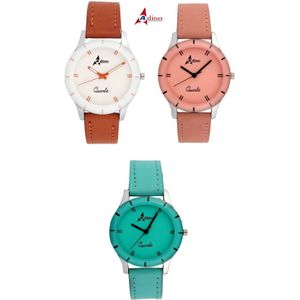 Adino Combo of 3 Valentine Analog Watches Model AD708283 - For Women