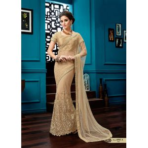 Beige Colored Net Embroidery Lehenga Saree