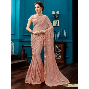 Dusty Pink Designer Knitted Georgette  Lehenga Saree