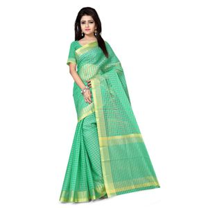 Green Colored Casual Saree With Green Colored Blouse