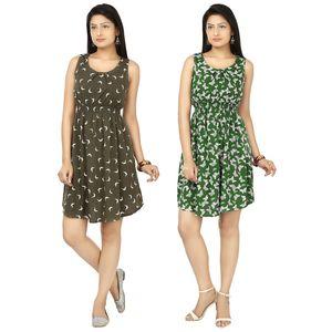 Designer Dress Combo in Grey & Green by Tusky