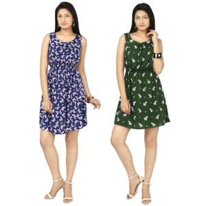 Designer Dress Combo in Blue & Green by Tusky