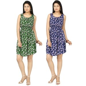 Designer Dress Combo in Green & Blue by Tusky