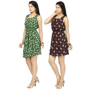 Designer Dress Combo in Green & Maroon by Tusky