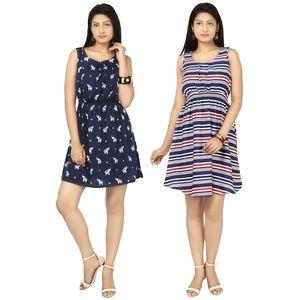 Designer Dress Combo in Blue & Multicolor by Tusky