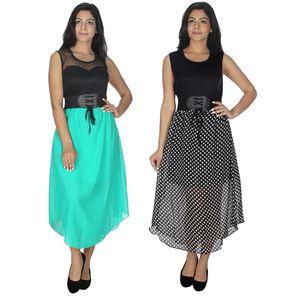 Designer Dress Combo in Light Green & Black by Tusky