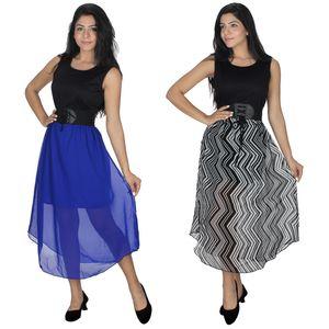 Designer Dress Combo in Blue & Black by Tusky