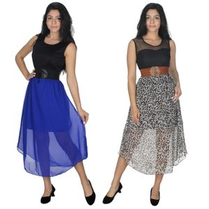 Designer Dress Combo in Blue & Brown by Tusky