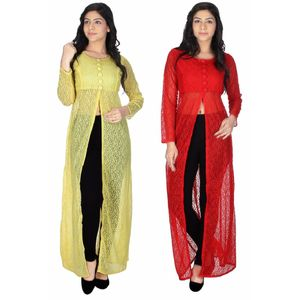Abeez  Maxi Dress Kurtis-Lenon And Red Net-Combo