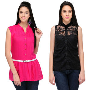 Designer Top Combo in Pink & Black by Tusky