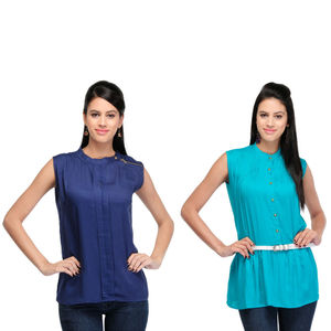 Designer Top Combo in Blue & Green by Tusky