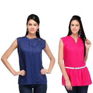 Designer Top Combo in Blue & Pink by Tusky