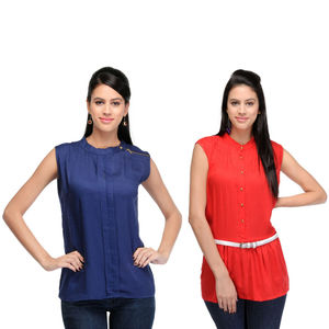 Designer Top Combo in Blue & Red by Tusky