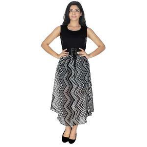 Abeez Black & White Party Wear Long Dress