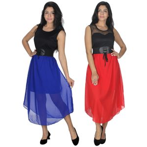 Designer Dress Combo in Blue & Red by Tusky