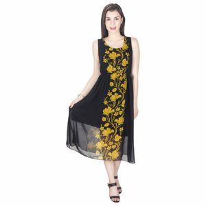 Abeez Black Georgette Yellow Florals Single Pcs Dress