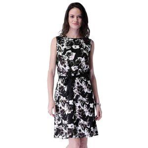 Abeez Black & White Floral Print A-Line Dress