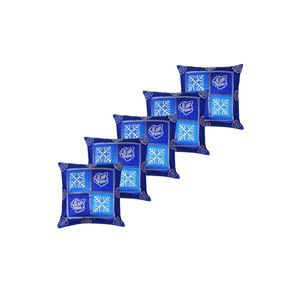 Blue Silk Hand Block Cushion Cover Pack of 5