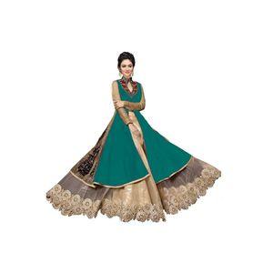 Green Banglori Silk Anarkarli Unstiched Suit
