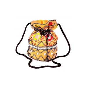 Silk Potli bags with Rajasthani Embroidery Set of 5