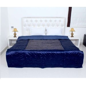 Blue Silk Printed Jaipuri Double Bed Quilts