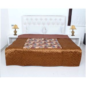 Brown Color Silk Printed Jaipuri Double Bed Quilt