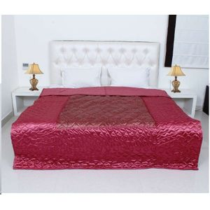 Red Color Silk Printed Jaipuri Double Bed Quilt