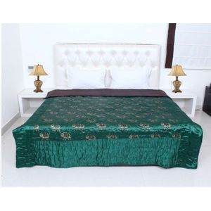 Green Color Silk Printed Double Bed Quilt