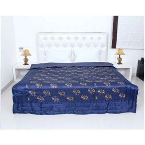 Blue Silk Elephant Print Jaipuri Double Bed Quilts