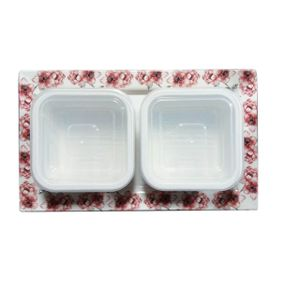 Designer Printed Tray with 2 Airtight Container (Bowl)