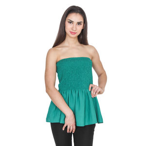 GREEN FIT AND FLARED TUBE TOPS