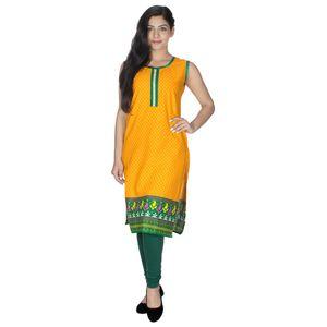 Designer Printed Sleeveless Cotton Kurti