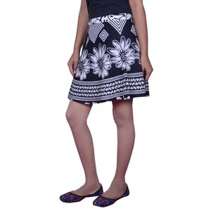 Cotton Printed Wrap Around Short Skirt By Abeez