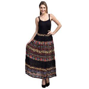 Tusky Multicolor-Black Colored Skirt