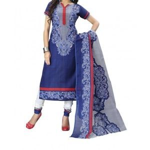 UNSTITCHED BANNO BLUE PRINTED DRESS MATERIAL