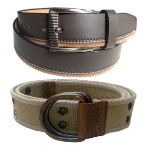 COMBO OF BROWN LEATHER BELT WITH ARMY GREEN CANVAS BELT VLB046