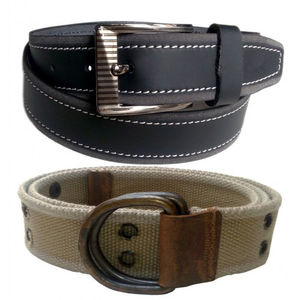 COMBO OF BLACK LEATHER BELT WITH ARMY GREEN CANVAS BELT VLB047