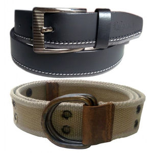 COMBO OF BLACK LEATHER BELT WITH ARMY GREEN CANVAS BELT VLB048
