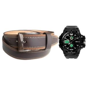 COMBO OF BROWN LEATHER BELT WITH SKMEI BLACK SPORTS WATCH COM8975