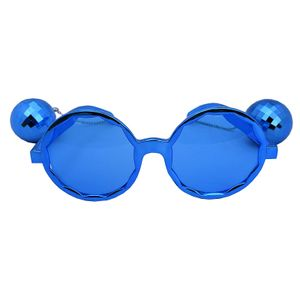 Disco Balls Metallic Blue Party Sunglasses