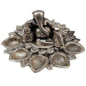 Fundoo Handicrafts White Metal Ganesha Panch Batti Diya