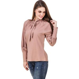 Stylos Casual Full Sleeve Solid Women Brown Top